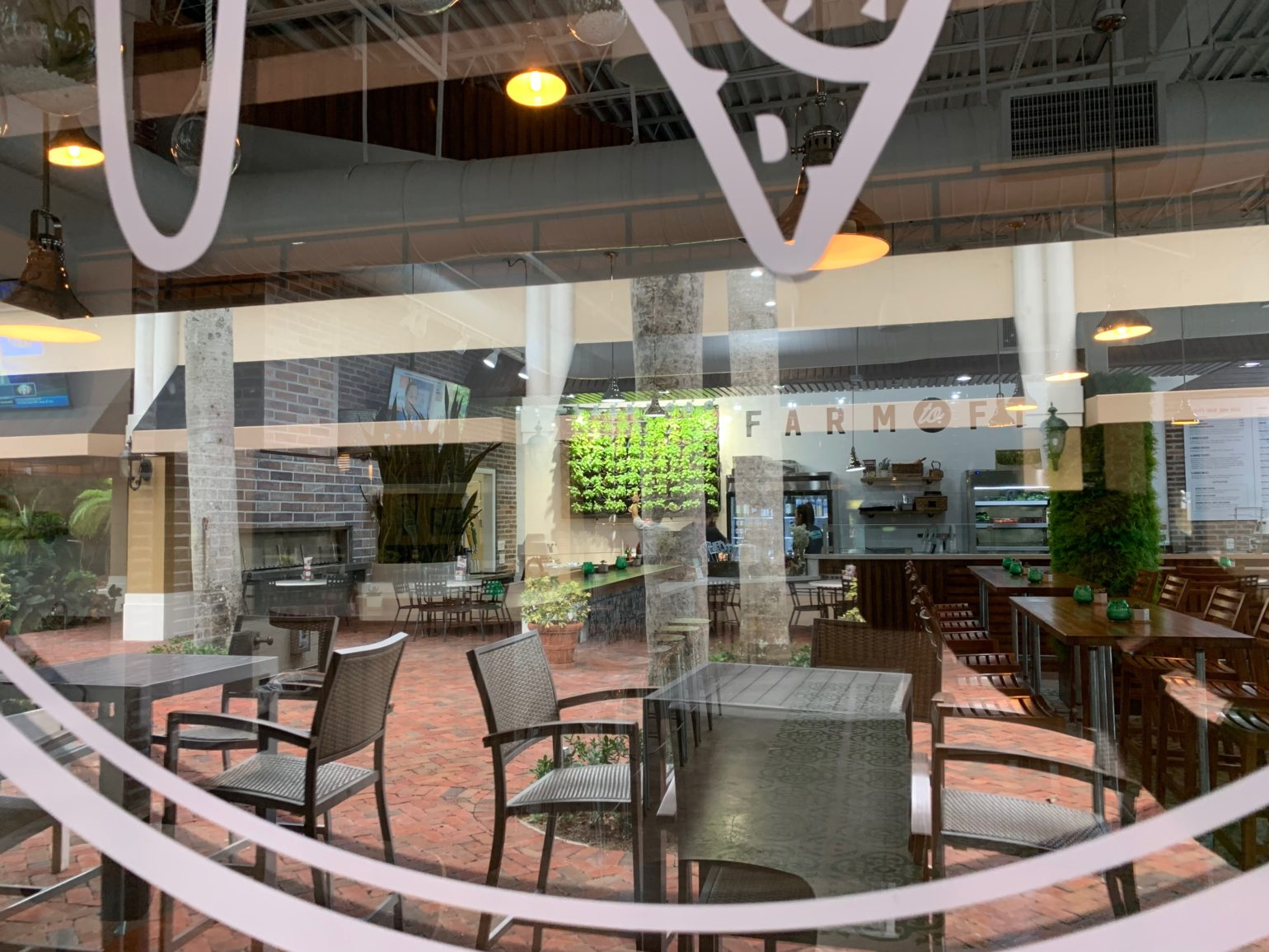 View of Basil Living Wall in Flash Fire Pizza Boca Raton